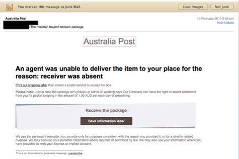 Australia Post - Malware Email Example